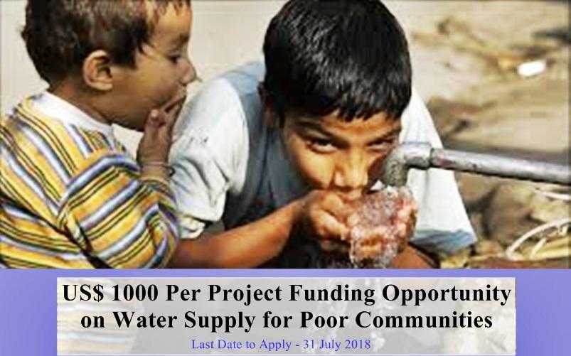 غریب بستیوں میں پانی کی فراہمی کے چھوٹے پروجیکٹس کے لیے ایک ہزار امریکی ڈالر فی پروجیکٹ فنڈنگ حاصل کرنے کا موقع۔  ۔۔۔۔۔۔۔۔۔۔۔۔۔۔۔۔۔۔۔۔ بین الاقوامی ڈونر ادارے کی طرف سے چھوٹی تنظیموں کے لیے گرانٹس کا اعلان۔ اگر آپ کی تنظیم رجسٹرڈ ہے اور پاکستان کے کسی بھی علاقے میں غریب آبادیوں میں پانی کی فراہمی کے پروجیکٹس چلارہی ہے تو آپ اس فنڈنگ کے لیے پروپوزل جمع کراسکتے ہیں۔  پروپوزل جمع کرانے کی آخری تاریخ 31 جولائی 2018 ہے۔