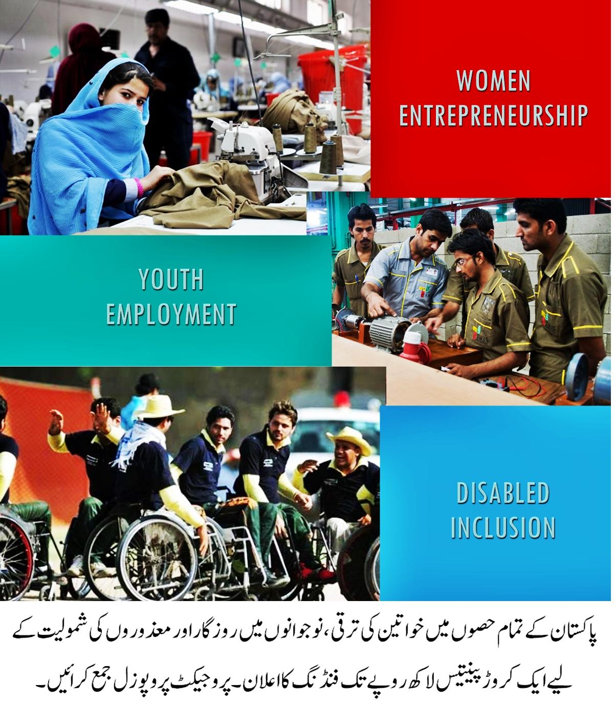 پاکستان کے تمام حصوں میں خواتین کی ترقی، نوجوانوں میں روزگار اور معذوروں کی شمولیت کے لیے ایک کروڑ پینتیس لاکھ روپے تک فنڈنگ  کا اعلان۔ پروجیکٹ پروپوزل جمع کرائیں۔